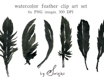 Watercolour Clipart, Halloween, Feather Clipart, Silhouette, Feather Silhouette