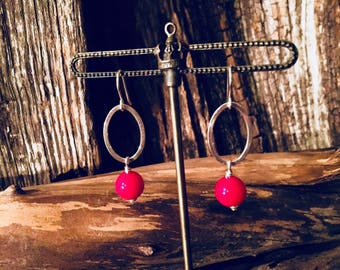 Red Coral & Sterling Drop Earrings