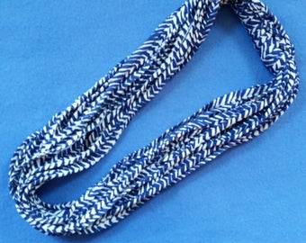 Blue and White Chevron Recycled T-shirt Infinity Scarf Necklace - upcycled tshirt scarf tarn tshirt yarn