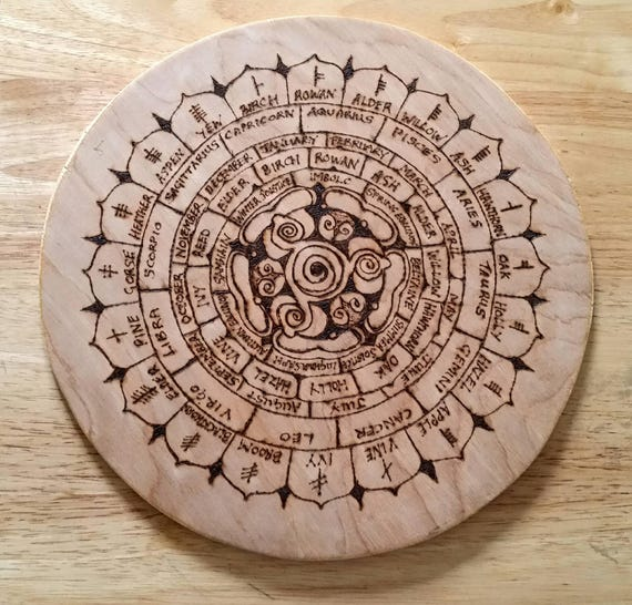 Celtic Calendar Wood : Celtic calendar pagan wiccan ogham year wheel wooden