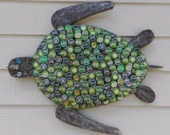 Bottle Cap Art - Green Sea Turtle No.: 4