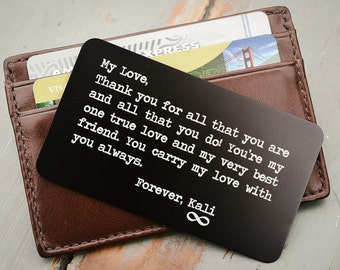 Custom Wallet Card, Personalized Wallet Insert, Metal Wallet Insert: Valentines Day, Wedding Gift for Him, Grooms Gift, Fathers Day Gift