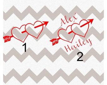Arrow Heart Decal, Arrow Heart YETI Decal, Personalized Arrow Heart Decal, Custom Arrow Heart Decal, Vinyl Arrow Heart Decal