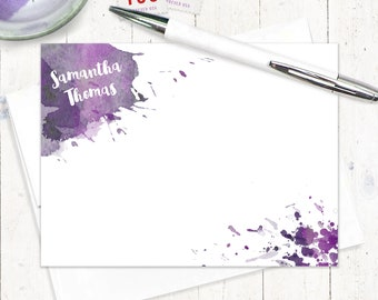 Personalized Note Cards Set - watercolor cards - stationery - stationary - artsy cards - set of 12 flat notecards - WATERCOLOR SPLOTCHES