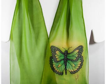 "Hand painted silk scarf. Butterfly Silk Scarf~8x52"" chiffon~Green Silk Scarf~Hand painted silk scarf~Painted silk scarf~silk scarf handpaint"