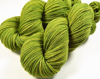 Hand Dyed Yarn, Worsted Weight Superwash Merino Wool Yarn - Lettuce Tonal - Yellow Green Knitting Yarn, Semi Solid Worsted Yarn, DIY Gift