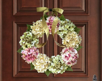 Summer Wreaths | Blended Hydrangea Wreath | Front Door Wreaths | Outdoor Wreath | Summer Wreath | Hydrangea Color Blend | Wreath