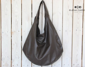 Large hobo bag, Brown Leather Tote Purse, Shoulder bag and purse, Hobo Bag Purse, Vegan hobo bag