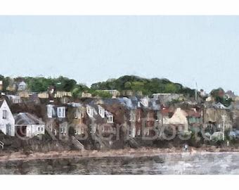 North Berwick Shoreline by Kirsten Boston, Giclée Fine Art Print, Signed, Scotland, Landscape, East Lothian