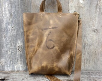 Leather Tote Bag with Shoulder Strap in Distressed Light Brown Cowhide Leather w/ Brand, Handmade, Hand Stitched, Rustic Bag by Stacy Leigh
