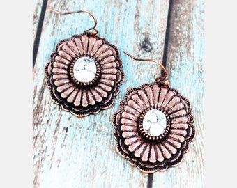 Burnished coppertone with white stone earrings