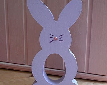 Freestanding Wooden Easter Bunny Creme Egg Holder Lilac