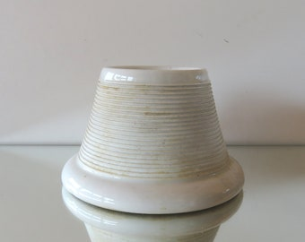 French antqiue Barware - Vintage Pyrogene or Match Holder With Match Striker - White Ironstone