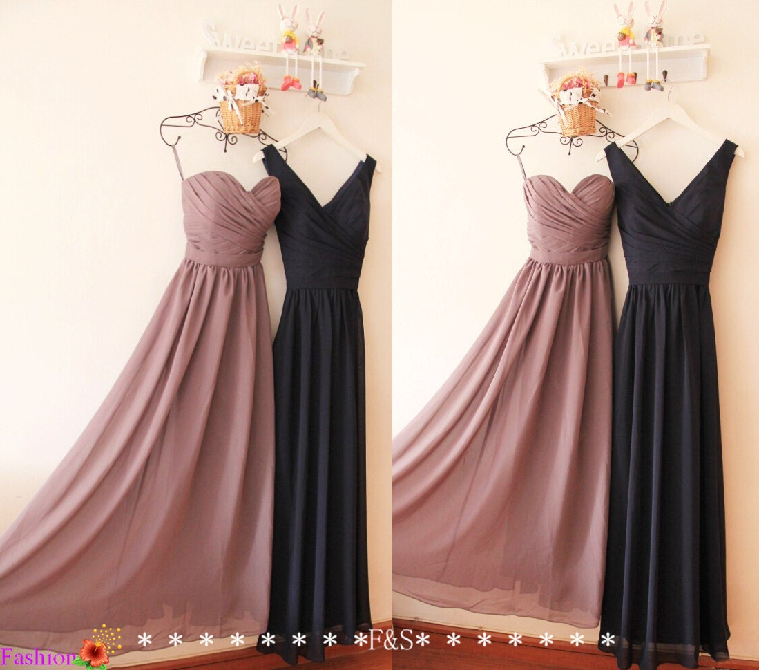 Grey bridesmaid dressa line long navy bridesmaid dresssexy zoom ombrellifo Choice Image
