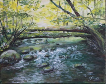 Vidva stream Original acrylic painting on canvas. ready to hang, wall decor