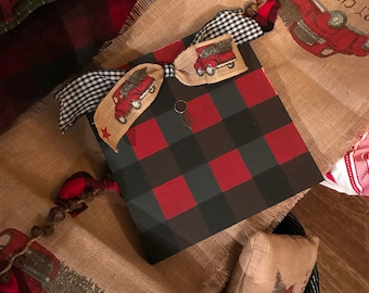 Black and red buffalo check vintage red  truck frame