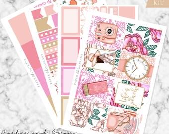 MINI KIT - 'Peaches & Cream' // Erin Condren Planner Sticker Kit - MATTE