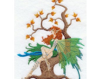Embroidered Patch / applique - fairy and autumn tree patch - sew, glue or iron on patch