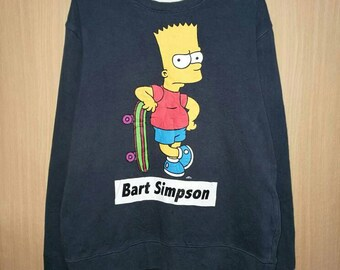 Rare!! Bart Simpson Matt Groening Skateboard Spellout Pullover Jumper Sweatshirt