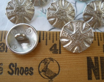 """Fancy carved look Metal Buttons Matte Silver color 24L (5/8"""" 16MM) floral matte finish sewing craft dome shank paper tag supply costume"""