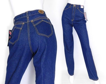 Sz 4 80s High Waisted Brittania Mom Jeans - Deadstock Vintage Women's Dark Indigo Slim Fit Straight Leg Blue Jeans