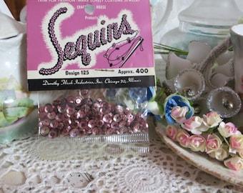 Vintage Sequins-Mauve Pink-Old Stock