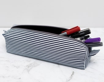 Navy Blue and White Striped Pencil Case - pencilcase - pencil pouch - pen case - pen pouch - zipper pouch - school supplies - gift for men