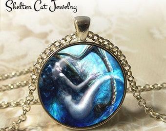 """Mermaid Playing a Harp Necklace - 1-1/4"""" Round Pendant or Key Ring - Handmade Wearable Photo Art Jewelry - Woman, Fairytale, Charming Gift"""