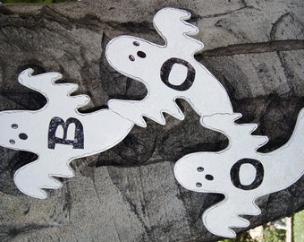 BOO Ghostly Trio Halloween Wood Decoration - Wall or Door Hanging