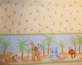 Original Jungle Babies Baby Giraffe Elephant Monkey  Tiger Cotton Border Print Fabric By The Half Yard  Retired OOP