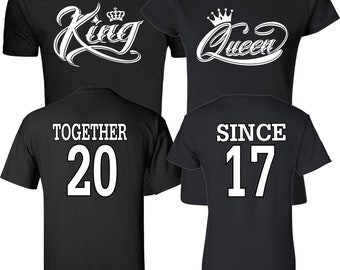 King and Queen White Designs Together Since  Couples Matching Valentine's Christmas Custom Shirts