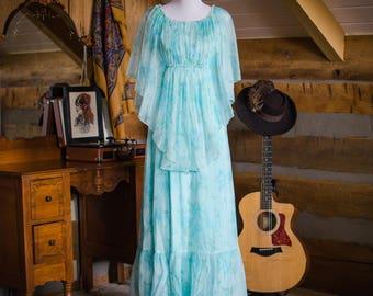 Vintage dress -  1970's mint floral angel sleeved maxi dress