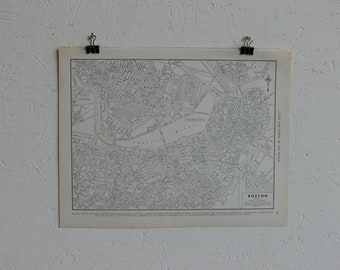 Vintage Map-City of Boston-Early 20th Century