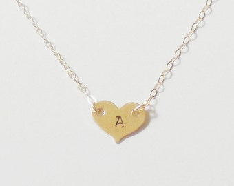Delicate Personalized Heart Necklace 14k Gold Filled.Small Heart Necklace. Custom Bridal Personalized Bridesmaid Gift Wedding Graduation