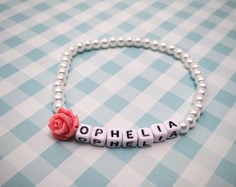 Baby ID Bracelet, Personalized Name Bracelets, Girls Personalized Bracelet, Jewerly Name Bracelet, Pearl ID Bracelet, Newborn Baby ID