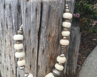 Bone and Silver Necklace