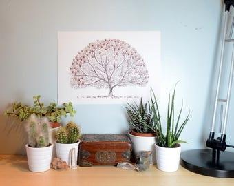 Magnolia Tree Art Print, Choice of Size
