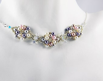 "READY TO SHIP Multicolor Swarovski Crystal Pearl Beadweaving Necklace ""Pearl Blossoms"""