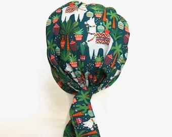 llama Scrub Hats, Pixie scrub caps, Scrub hat, scrub cap, Scrub Hats for Women, llamas, alpaca, green, Tie back, surgical scrub caps