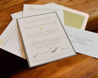 Mountain Wedding Invitation set / Aspen leaves, Natural, Simple / green, yellow, gray / Fall wedding / Outdoor wedding