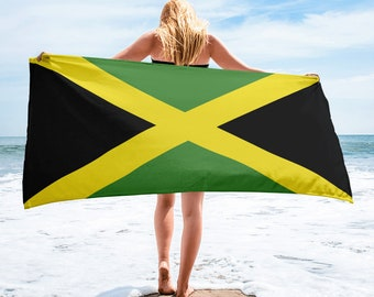 "Jamaican Flag Beach Towel - Jamaica Flag Towel - Jamaica Towel - 30"" x 60"""