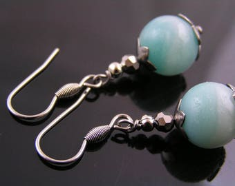 Amazonite Earrings, Amazonite Jewelry, Gemstone Earrings, Short Earrings, Wire Wrapped Earrings, Gemstone Jewelry, Pierced Earrings, E1919