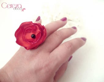 Red and black baroque wedding Tango flower ring