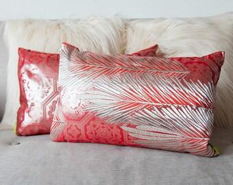 Pink Silver Pillow, Metallic Accent Cushion, Pine Matsu, Upcycled Silk Vintage Kimono Obi, real Gilt Thread, Eco, Luxury, Feather Pad 1920s