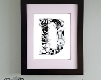 PRINTABLE Monogram Letter D Digital Print Hand Drawn Pen and Ink