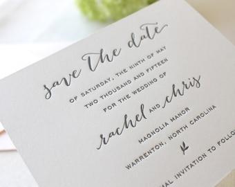 The Magnolia Suite - Letterpress Wedding Save the Date Invitation, Grey, Black, Kraft, Paper Bag, Blush, Pink, Calligraphy, Modern, Rustic