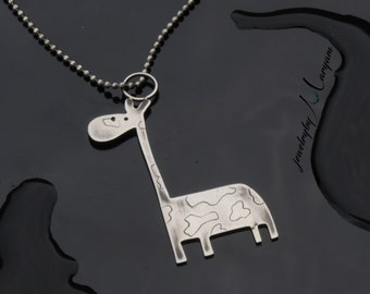 Blackened Sterling Silver Giraffe Necklace