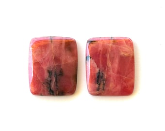 Rhodonite natural stone cabochons (pair)  23 x 19 x 4 mm