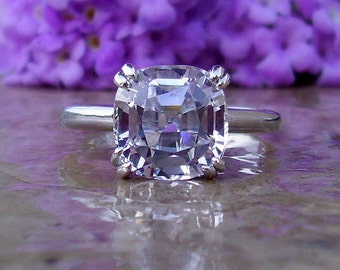 White Sapphire Engagement Ring | 5cts +| Sapphire Ring | White Sapphire Ring | Made To Order