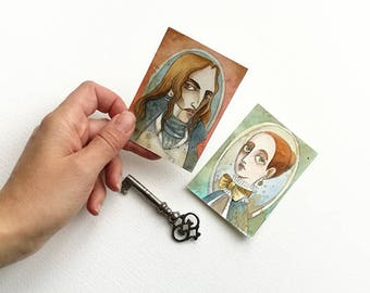 2 Aceo- Mina Harker and Dracula portraits - Bram Stoker Gothic novel - Dracula - Watercolors and coffe - 2 OOAK original artwork